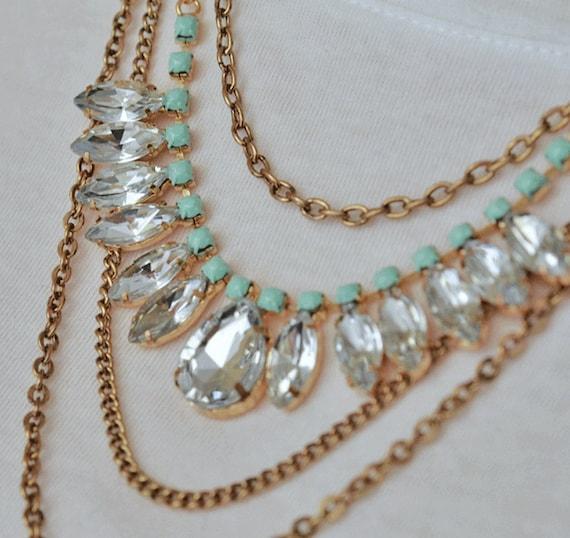 painted rhinestone necklace Diamond Drape mint green w/earrings