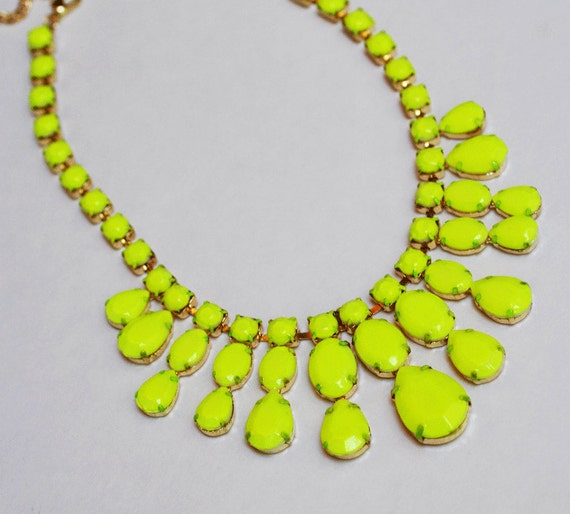 neon rhinestone necklace Bright Yellow Neon