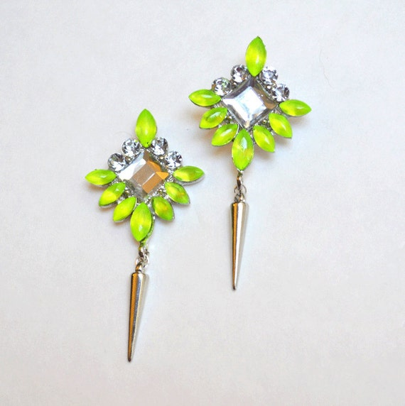 neon rhinestone earrings Acid Green Yellow spike silver