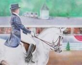 Dressage Horse & Rider at Devon Pastel Framed Original