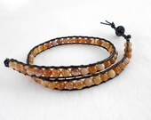 Double Wrap Amber Agate Beaded Leather Bracelet