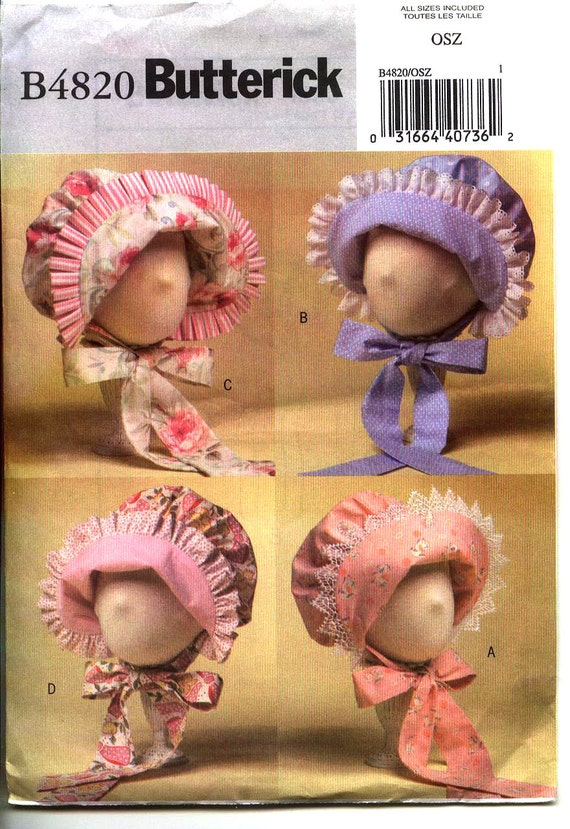 2006 Adorable INFANT  BABY BONNET Pattern From Butterick b4820  All Sizes Small-Xlarge