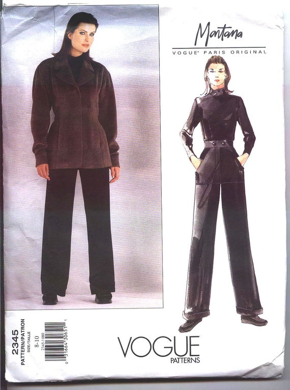 1999 MONTANA VOGUE PARIS Original  Pattern  2345 Sz 8-10 Misses' Jacket and Pants Uncut Factory Folded
