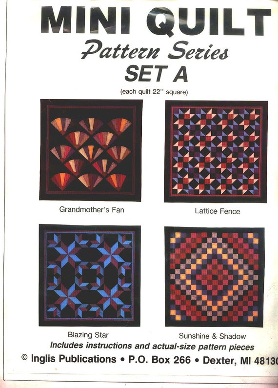 New Sale Price Vintage INGLIS MINI QUILT Kit Pattern Series Set A Make 4 Diggerent Mini Quilts for Dolls Wall Hangingsings