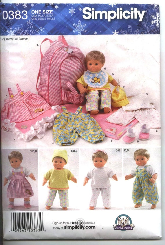 DOLL CLOTHES for 15 inch Baby Dolls Pattern 0383 Simplicity Doll Clothes from 2011 New Un-cut