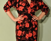 Vintage Rockabilly Dress 1940s Silhouette Semi Wrap with Front Pockets in Black and Red Floral