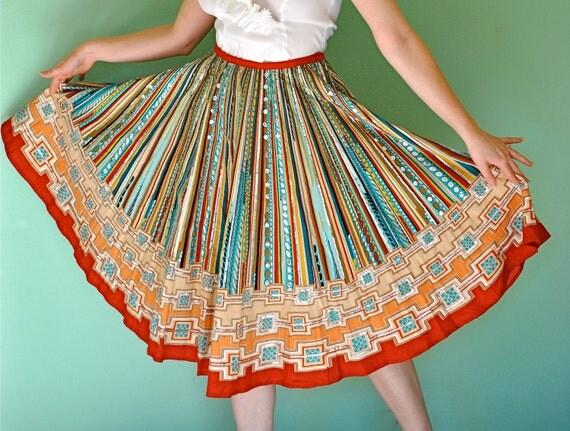 Vintage Mexican Circle Skirt - Rockabilly Sequin Detailed Dress Skirt Size Medium