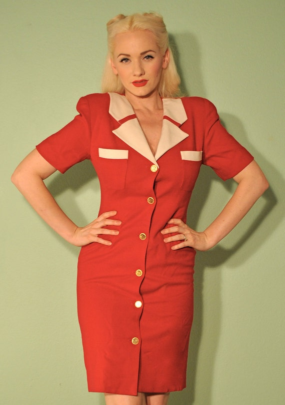 Vintage 1940s WWll Style Suit Dress - Military Pinup - Rockabilly -
