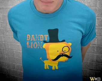 Dandy Lion Fitted Tee - Unisex - Handprinted - Ringspun Cotton - Blue