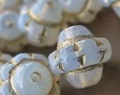 Little Goldies (10) 7mm x 7mm glass beads