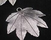 Leaf pendant silver pewter focal leaf pendant