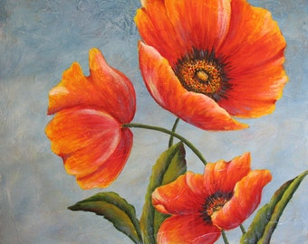 THREE POPPIES:  an original acrylic painting
