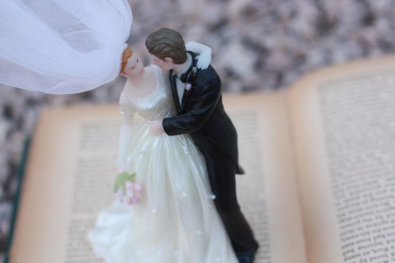 Vintage wedding cake topper 1990s anniversary or engagement gift