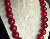 Beautiful big and chunky red coral necklace