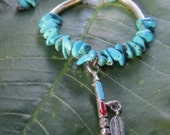 Native American Peace Pipe Charm Bracelet, Turquoise Beaded Macrame Bracelet