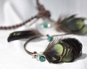 Bohemian Leather Hair Wrap, Irridescent Green Feathers, Teal Beads, Braided Leather, Hippie Headband