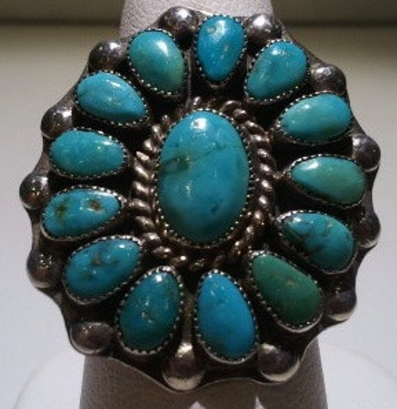 Native American Indian Silver and Turquoise Ring