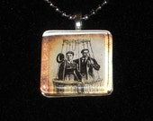 Great Sepia Victorian Couple in a Balloon Glass Tile Necklace