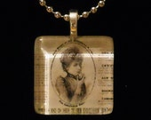 Steampunk style Sepia Victorian Woman Glass Tile Necklace