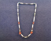 Vintage, Necklace, Silver, Bone, Turquoise, Coral, Jewelry