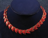 Lipstick Red Enameled Necklace Leaf Motif 60's Vintage Womens Fashion Jewelry for Her Accessories -- Free Priority Insurance Included