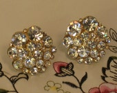 Vintage 1980s Swarovski Crystal Clip On Earrings, Womens Jewelry, Fashion Accessory