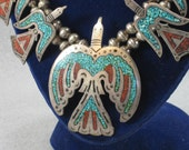 Navajo Squash Blossom Necklace, Artist Signed, Turquoise Silver and Coral