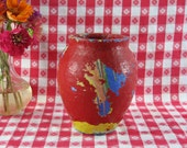 Red Cement URN, Vase, Home Decor, Shabby Chic