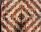 """RESERVED for Audra -- VINTAGE  """"Log Cabin Sunshine and Shadow"""" Quilt  -- Wall Hanging -- Free Priority Shipping Included"""