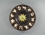 ZODIAC Wall Clock Hand made Vintage Upcycled Ceramic Ashtray, Geekery, Clocks by DanO