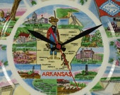 Wall Clock made from Upcycled Vintage Arkansas Souvenir Travel Plate, Wall Art, Housewares