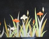 Black Serving Tray, Irises, Otagiri, Made in Japan, Home Decor