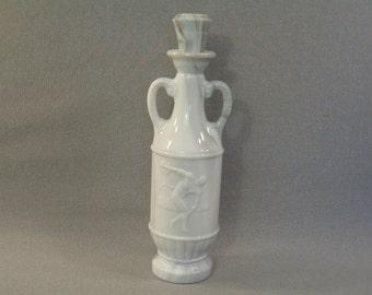 Jim Beam White Slag Marble Liquor Bottle Decanter, Greek Discus Thrower