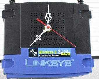 Desk Clock made from LINKSYS Wireless G 2.4 GHz Broadband Router, Geekery, Clocks by DanO