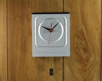Wall Clock with Pendulum made from Upcycled Silver LG Super Multi DVD Rewriter, Geekery, Clocks by DanO