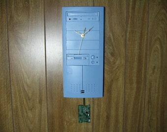Enlight Desktop Computer Cover Wall Clock with Swinging Pendulum, Cornflower Blue, Geekery, Clocks by DanO