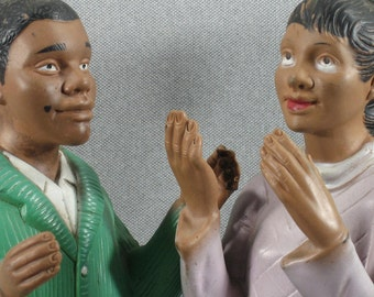 Childcraft 1968 Rubber Hand Puppets, African American Boy and Girl