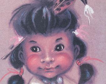 "Pastel of Native American Girl, ""White Bird"", Artist Signed"