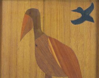 Vintage, Woodworking, wall art, Pelican, Primitive, Folk Art, Weird, Mosaic, Home Decor