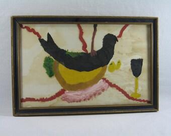 Vintage, Primitive Art, Watercolor, Black Bird, Folk Art, Wall Hanging, Home Decor, Weird