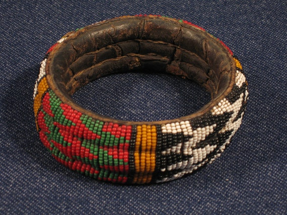 Vintage African Beaded Bracelet Collectible Tribal Jewelry Fine Art Accessories-- Free Priority Shipping Included