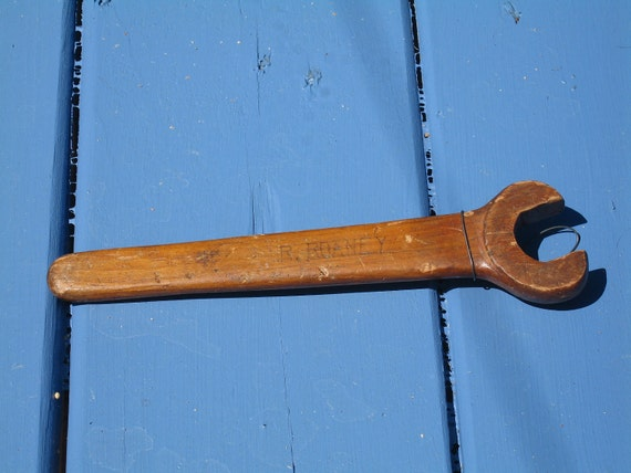 Wood Carving of Wrench, Folk Art, Tool, Hand Carved, Handmade, woodcarving, Vintage, Advertising -- Free Priority Shipping Included
