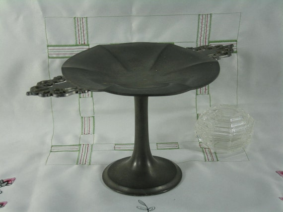 Vintage Pewter Footed Serving Dish Plate Stand Cupcake Pedestal Candy Dish Home Decor -- Free Priority Shipping Included