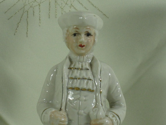 Vintage Porcelain Figurines Colonial Man Scroll Town Crier Home Decor -- Free Priority Shipping Included