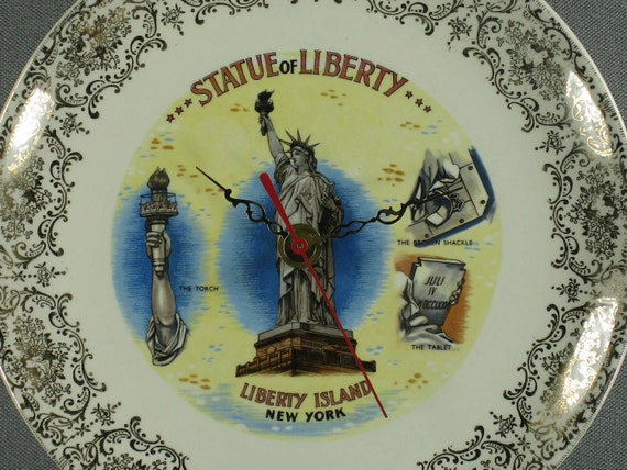 Handmade, Wall Clock, NEW YORK, Statue of Liberty, Upcycled, Souvenir Plate, Decor, for Home, Free Priority Shipping Included