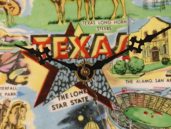 Handmade, Wall Clock,Texas, Upcycled, Souvenir Plate, Decor, for Home, Free Priority Shipping Included