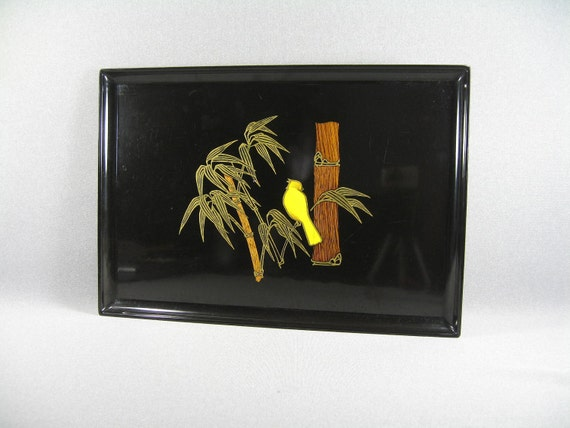 Vintage COUROC Serving Tray Asian Inspired Bamboo Yellow Canary Home Decor --Free Priority Shipping Included, Home Decor