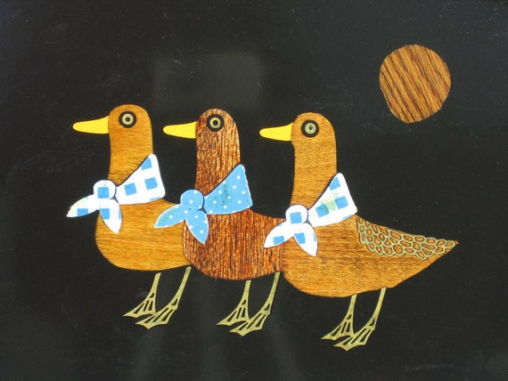 Vintage COUROC Serving Tray Three Ducks Birds Inlaid Wood Home Decor Entertaining Holiday Gift Ideas -- Free Priority Shipping Included