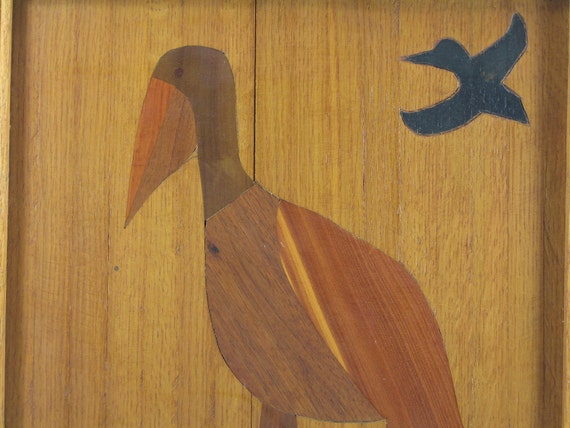Vintage Woodworking Wall Art Pelican Primitive Folk By