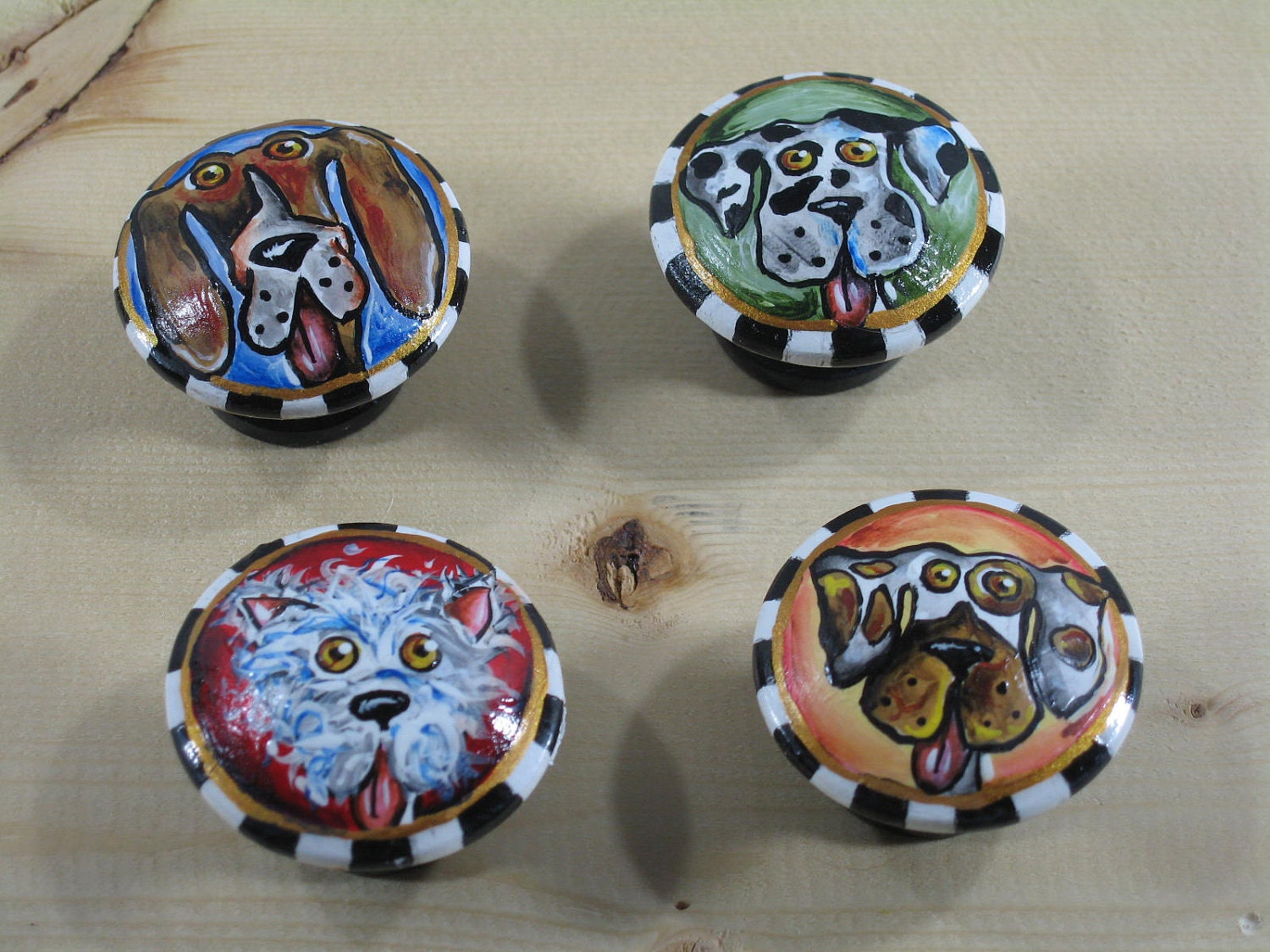 hand painted knobs whimsical dogs drawer pulls one